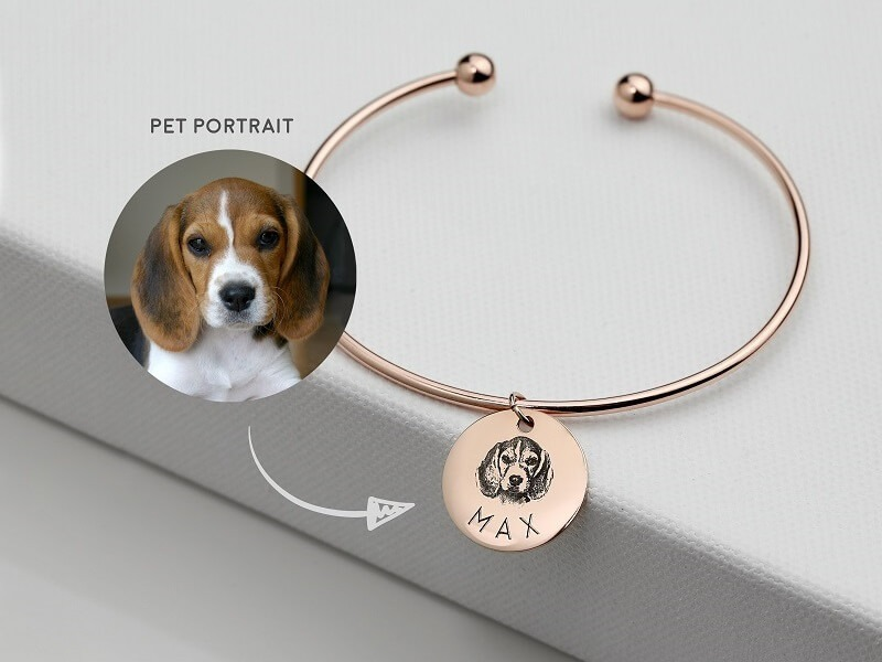 Custom Pet Photo Cuff Bracelet